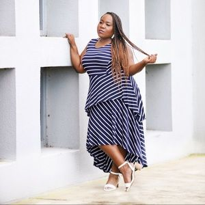 Lane Bryant Striped Maxi Dress Tiered